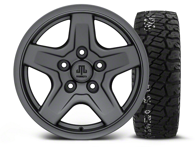 Mammoth Boulder Charcoal - 16x8 Wheel - and BF Goodrich All Terrain TA KO2 Tire - 315/75R16 (07-18 Wrangler JK)