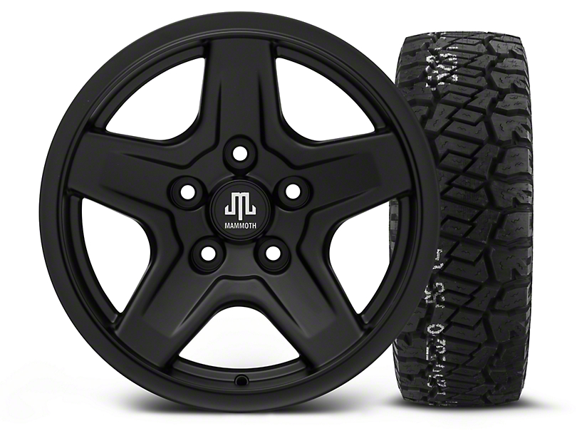 Mammoth Boulder Black - 16x8 Wheel - and BF Goodrich All Terrain TA KO2 Tire - 315/75R16 (07-18 Wrangler JK)