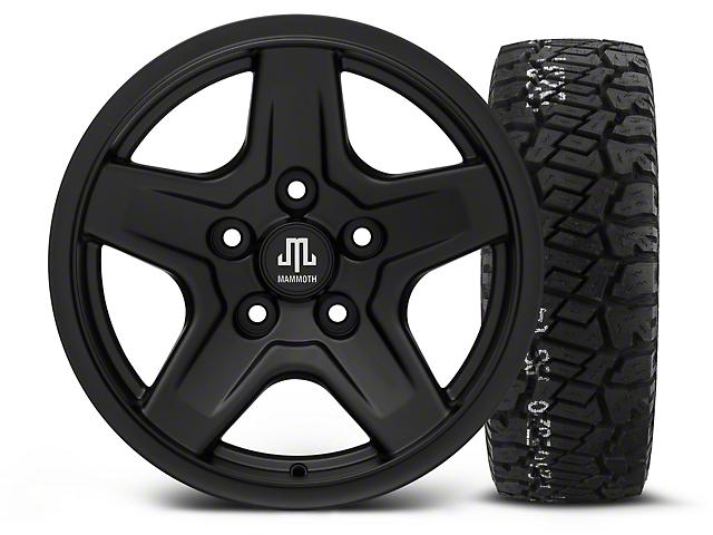Mammoth Boulder Black - 16x8 Wheel - and BF Goodrich All Terrain TA KO2 Tire - 315/75R16 (07-18 Wrangler JK; 2018 Wrangler JL)