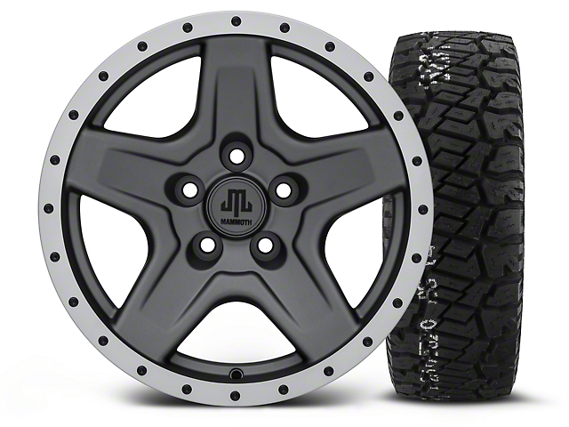 Mammoth Boulder Beadlock Style Charcoal - 16x8 Wheel - and BF Goodrich All Terrain TA KO2 Tire - 315/75R16 (87-06 Wrangler YJ & TJ)