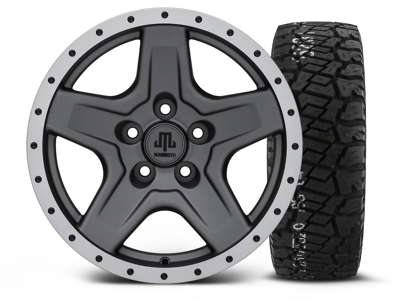 Mammoth Boulder Beadlock Style Charcoal 16x8 Wheel & BF Goodrich All Terrain TA KO2 315/75R16 Tire Kit (87-06 Jeep Wrangler YJ & TJ)