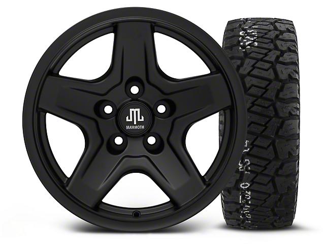 Mammoth Boulder Black 16x8 Wheel and BF Goodrich All Terrain TA KO2 315/75R16 Tire Kit (87-06 Jeep Wrangler YJ & TJ)