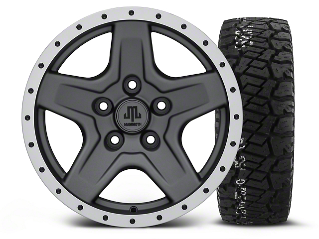 Mammoth Boulder Beadlock Style Charcoal - 16x8 Wheel - and BF Goodrich All Terrain TA KO2 Tire - 315/75R16 (07-18 Jeep Wrangler JK; 2018 Jeep Wrangler JL)