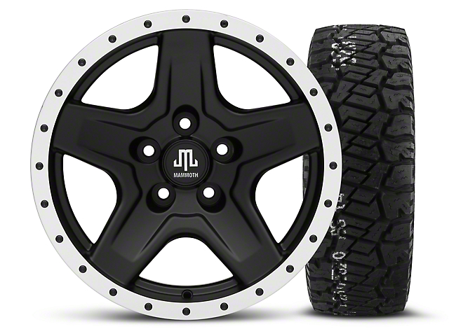 Mammoth Boulder Beadlock Style Black - 16x8 Wheel - and BF Goodrich All Terrain TA KO2 Tire - 315/75R16 (87-06 Wrangler YJ & TJ)