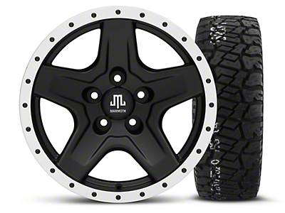 Mammoth Boulder Beadlock Style Black 16x8 Wheel & BF Goodrich All Terrain TA KO2 315/75R16 Tire Kit (87-06 Jeep Wrangler YJ & TJ)