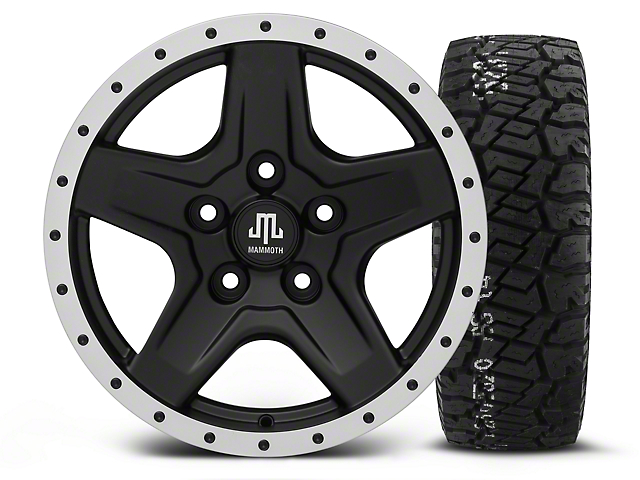 Mammoth Boulder Beadlock Style Black - 16x8 Wheel - and BF Goodrich All Terrain TA KO2 Tire - 315/75R16 (07-18 Jeep Wrangler JK)