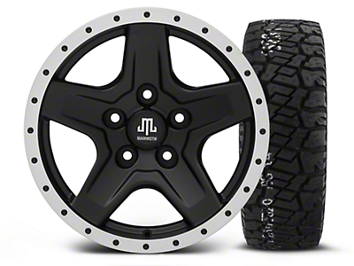 Mammoth Boulder Beadlock Style Black - 16x8 Wheel - and BF Goodrich All Terrain TA KO2 Tire - 315/75R16 (07-17 Wrangler JK)