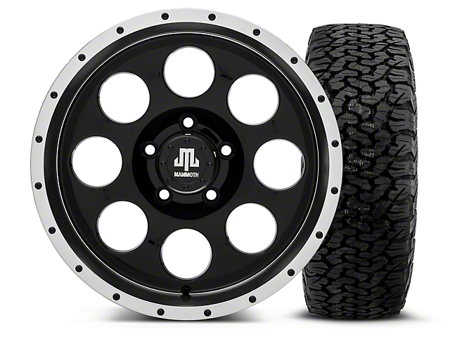 Mammoth 8 Beadlock Style Black - 17x9 Wheel - and BF Goodrich All Terrain TA KO2 Tire - 315/70R17 (07-18 Jeep Wrangler JK)