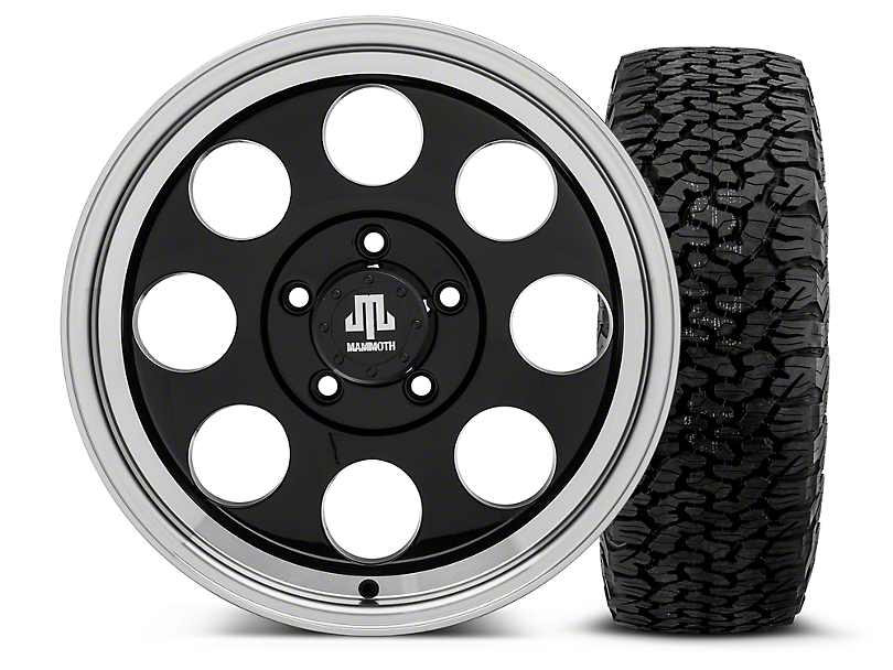 Mammoth 8 Black - 17x9 Wheel - and BF Goodrich All Terrain TA KO2 Tire - 315/70R17 (07-18 Jeep Wrangler JK; 2018 Jeep Wrangler JL)