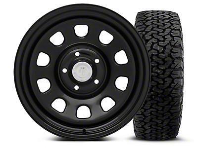 Mammoth 8 Black Steel - 17x9 Wheel - and BF Goodrich All Terrain TA KO2 Tire - 315/70R17 (07-18 Jeep Wrangler JK; 2018 Jeep Wrangler JL)