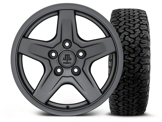 Mammoth Boulder Charcoal - 17x9 Wheel - and BF Goodrich All Terrain TA KO2 Tire - 315/70R17 (07-18 Wrangler JK; 2018 Wrangler JL)