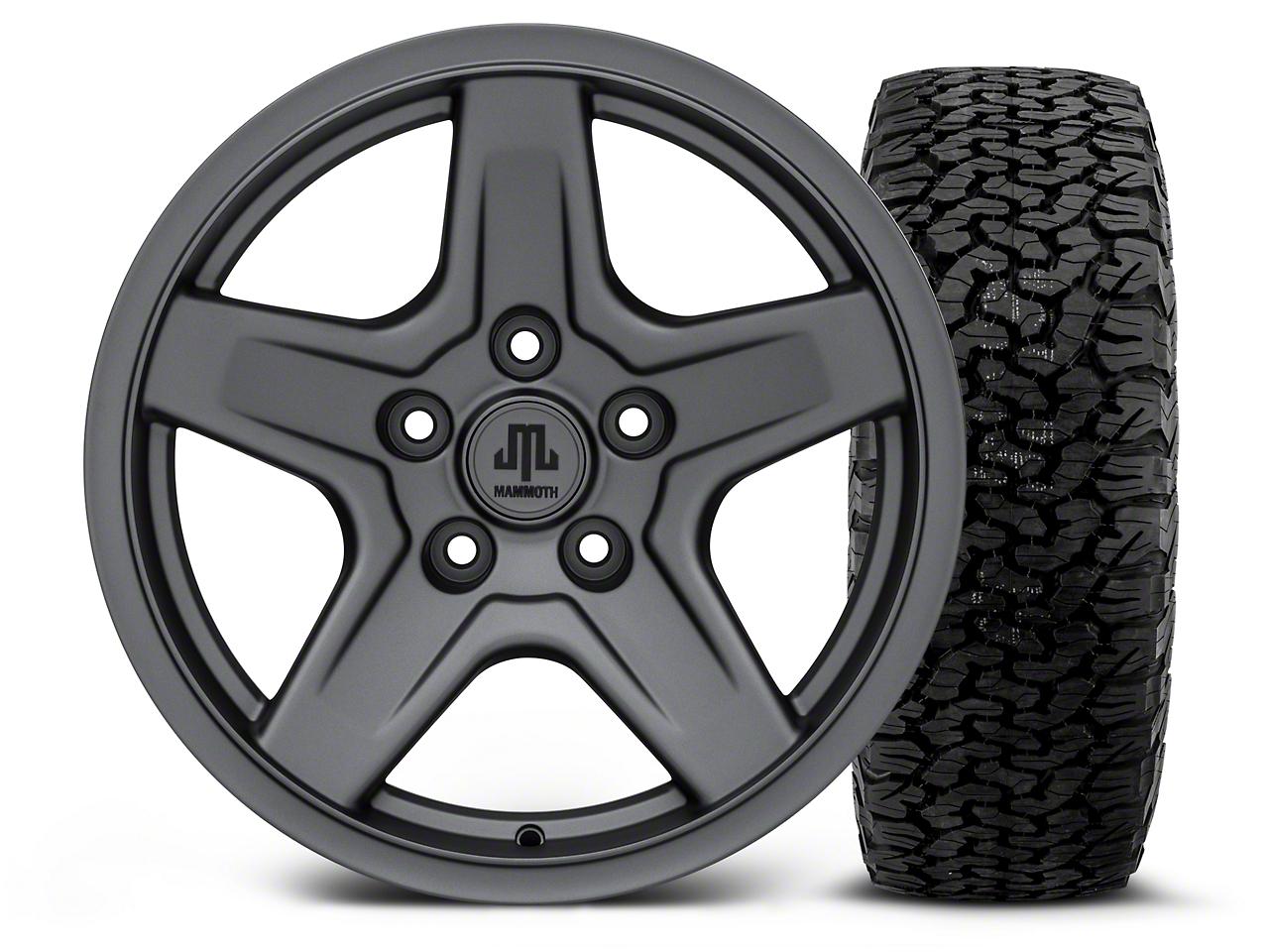 Mammoth Boulder Charcoal - 17x9 Wheel - and BF Goodrich All Terrain TA KO2 Tire - 315/70R17 (07-18 Jeep Wrangler JK; 2018 Jeep Wrangler JL)