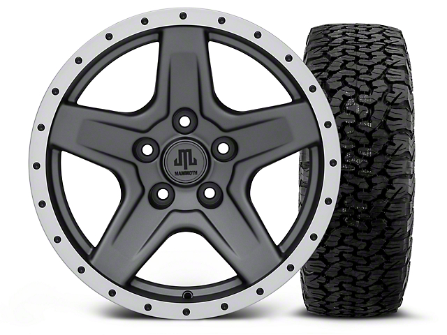 Mammoth Boulder Beadlock Style Charcoal - 17x9 Wheel - and BF Goodrich All Terrain TA KO2 Tire - 315/70R17 (07-18 Jeep Wrangler JK; 2018 Jeep Wrangler JL)