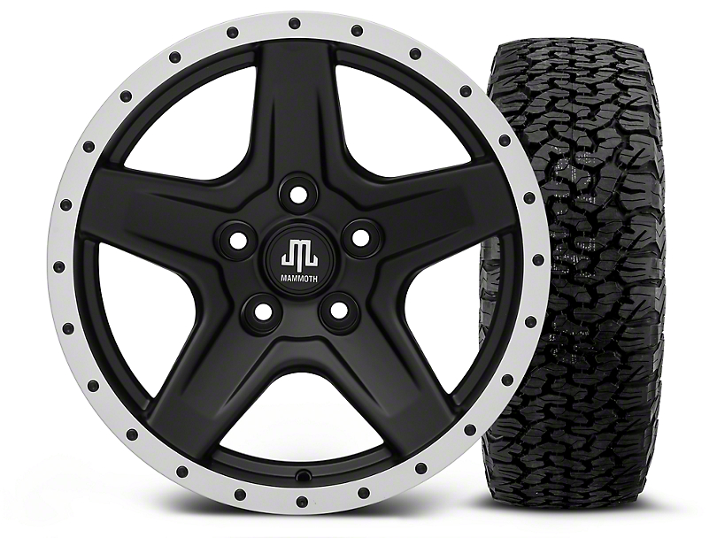 Mammoth Boulder Beadlock Style Black - 17x9 Wheel - and BF Goodrich All Terrain TA KO2 Tire - 315/70R17 (07-18 Jeep Wrangler JK; 2018 Jeep Wrangler JL)