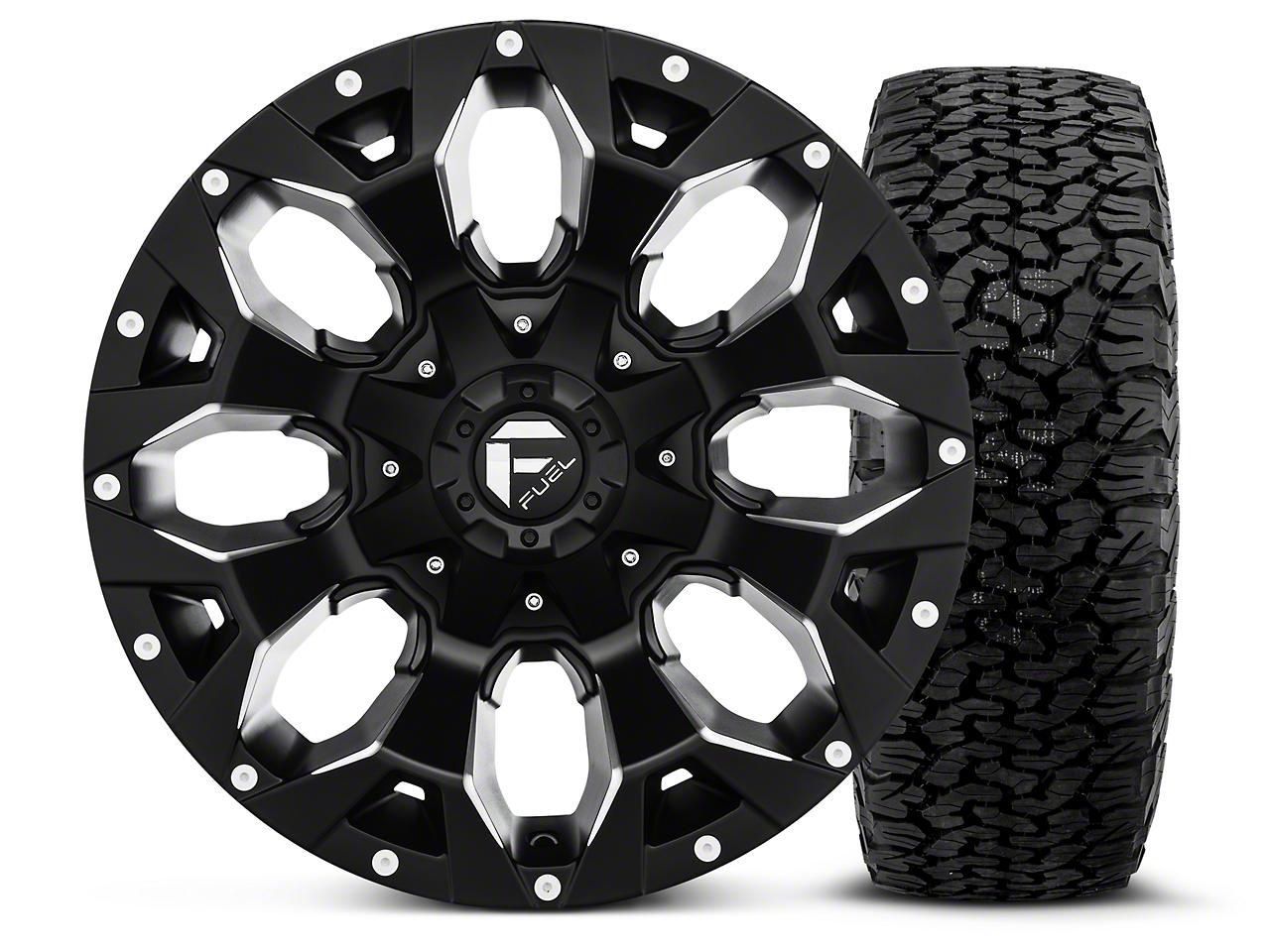 Fuel Wheels Assault Black Machined - 17x9 Wheel - and BF Goodrich All Terrain TA KO2 Tire - 315/70R17 (07-18 Jeep Wrangler JK; 2018 Jeep Wrangler JL)
