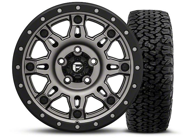 Fuel Wheels Hostage III Gunmetal and Black 17x9 Wheel and BF Goodrich All Terrain TA KO2 315/70R17 Tire Kit (07-18 Jeep Wrangler JK)