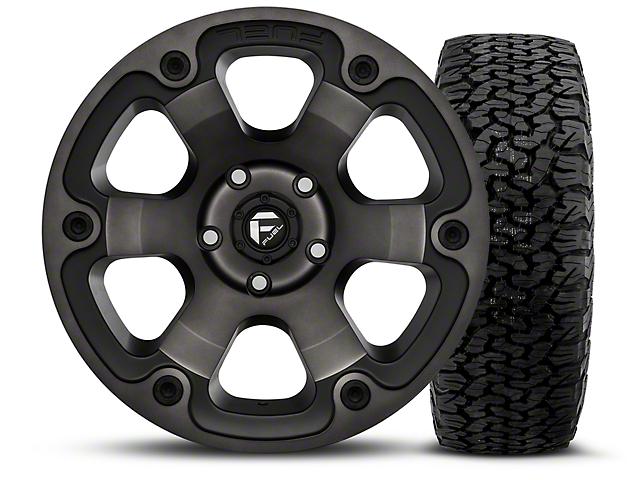 Fuel Wheels Beast Black Machined 17x9 Wheel & BF Goodrich All Terrain TA KO2 315/70R17 Tire Kit (07-18 Jeep Wrangler JK)