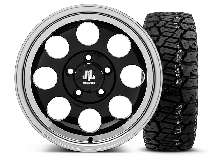 Mammoth 8 Black - 15x8 Wheel - and Dick Cepek Fun Country Tire - 33X12.50R15 (87-06 Wrangler YJ & TJ)
