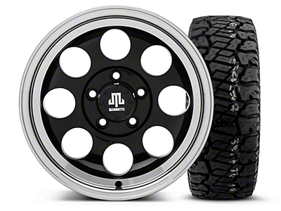 Mammoth 8 Black 15x8 Wheel & Dick Cepek Fun Country 33X12.50R15 Tire Kit (87-06 Jeep Wrangler YJ & TJ)