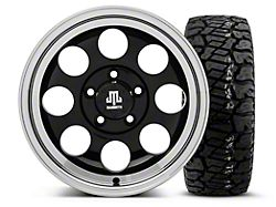 Mammoth 8 Black 15x8 Wheel and Dick Cepek Fun Country 33X12.50R15; Set of Five (87-06 Jeep Wrangler YJ & TJ)