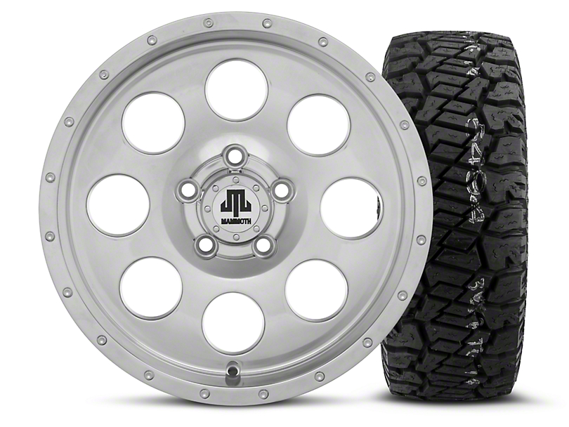 Mammoth 8 Beadlock Style Polished 15x8 Wheel and Dick Cepek Fun Country 33X12.50R15 Tire Kit (87-06 Jeep Wrangler YJ & TJ)
