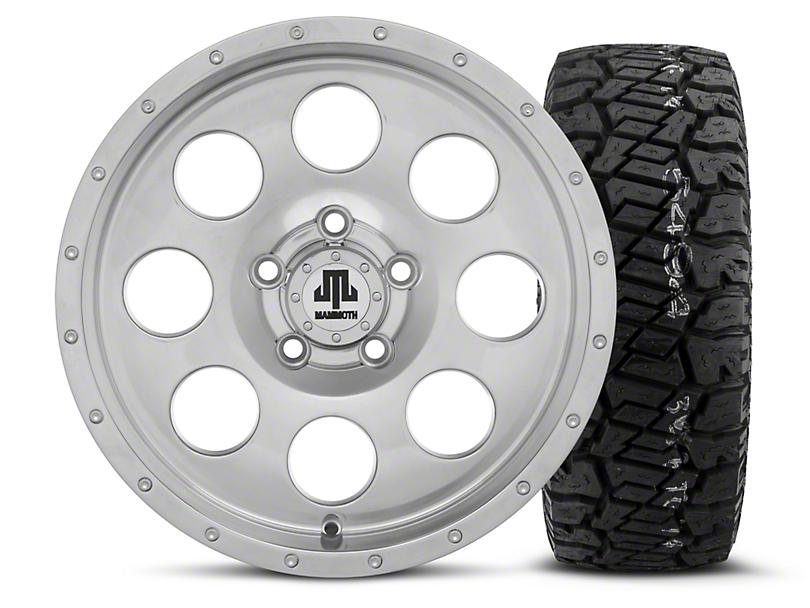 Mammoth 8 Beadlock Style Polished 15x8 Wheel & Dick Cepek Fun Country 33X12.50R15 Tire Kit (87-06 Wrangler YJ & TJ)