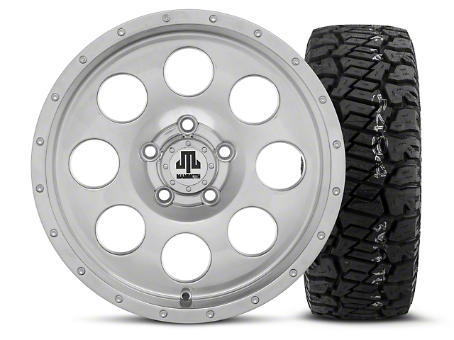 Mammoth 8 Beadlock Style Polished 15x8 Wheel & Dick Cepek Fun Country 33X12.50R15 Tire Kit (87-06 Jeep Wrangler YJ & TJ)