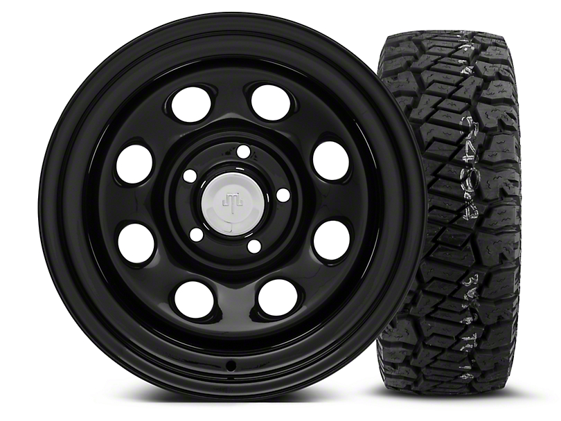 Mammoth 8 Black Steel 15x10 Wheel & Dick Cepek Fun Country 33X12.50R15 Tire Kit (87-06 Jeep Wrangler YJ & TJ)