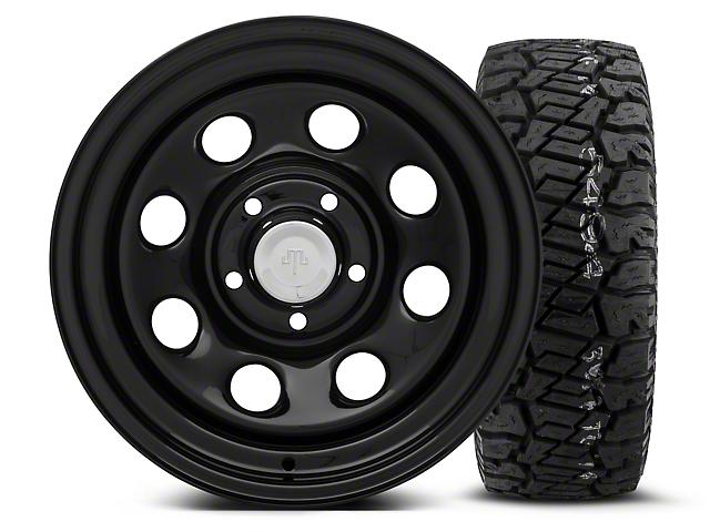 Mammoth 8 Black Steel 15x8 Wheel and Dick Cepek Fun Country 33X12.50R15 Tire Kit (87-06 Jeep Wrangler YJ & TJ)