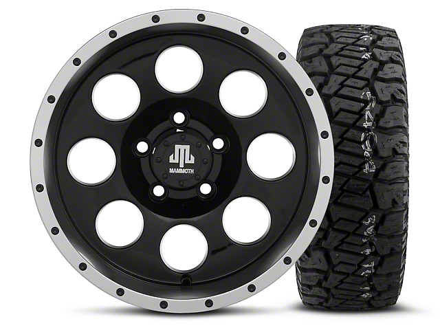 Mammoth 8 Beadlock Style Black - 15x8 Wheel - and Dick Cepek Fun Country Tire - 33X12.50R15 (87-06 Wrangler YJ & TJ)