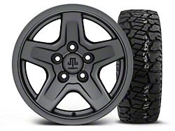 Mammoth Boulder Charcoal 15x8 Wheel and Dick Cepek Fun Country 33X12.50R15; Set of Five (87-06 Jeep Wrangler YJ & TJ)
