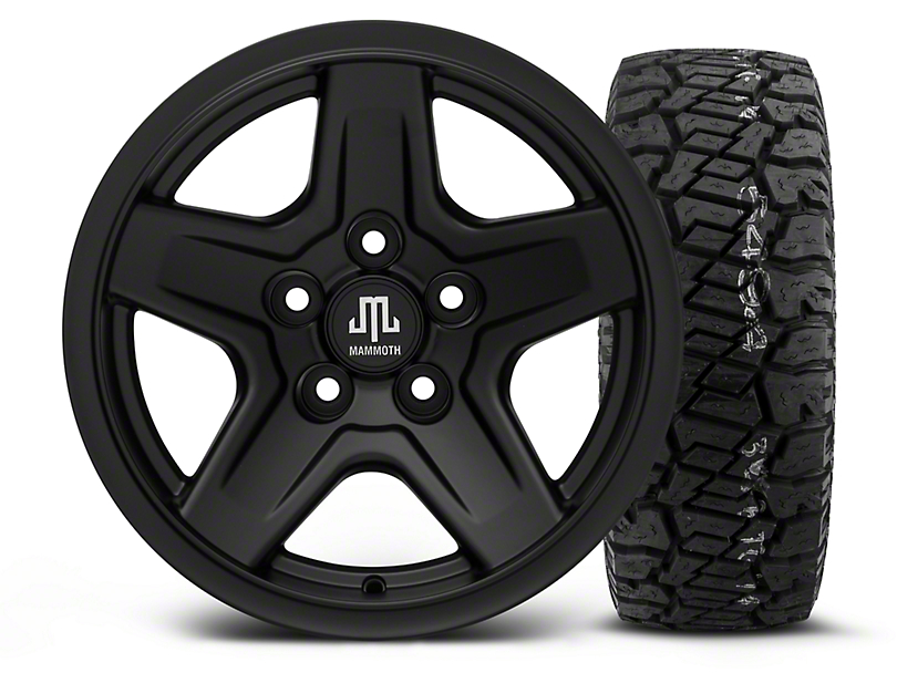 Mammoth Boulder Black - 15x8 Wheel - and Dick Cepek Fun Country Tire - 33X12.50R15 (87-06 Wrangler YJ & TJ)