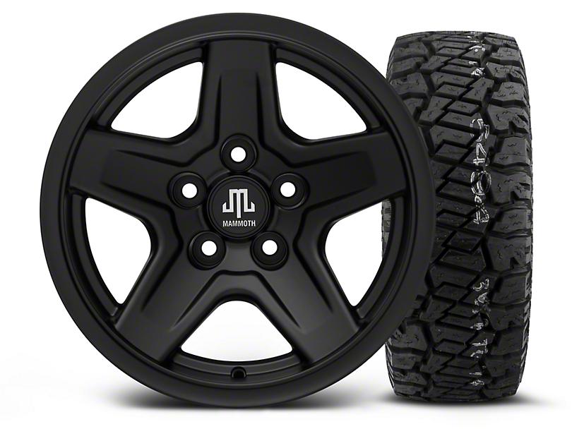 Mammoth Boulder Black - 15x8 Wheel - and Dick Cepek Fun Country Tire - 33X12.50R15 (87-06 Wrangler YJ & TJ)