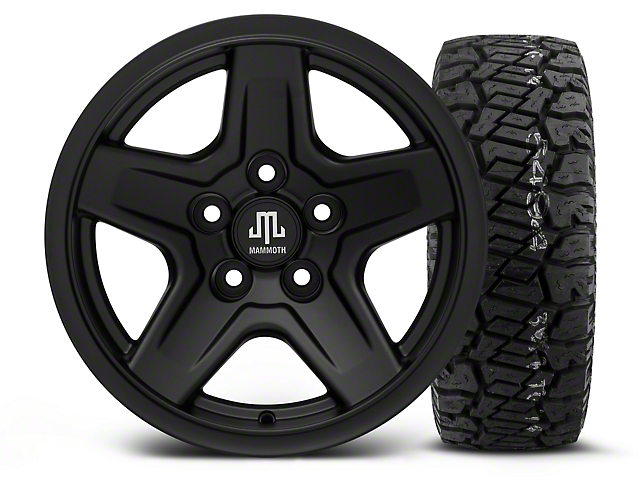 Mammoth Boulder Black 15x8 Wheel and Dick Cepek Fun Country 33X12.50R15 Tire Kit (87-06 Jeep Wrangler YJ & TJ)