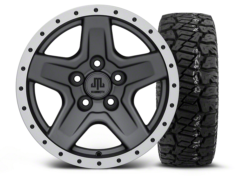 Mammoth Boulder Beadlock Style Charcoal - 15x8 Wheel - and Dick Cepek Fun Country Tire - 33X12.50R15 (87-06 Wrangler YJ & TJ)