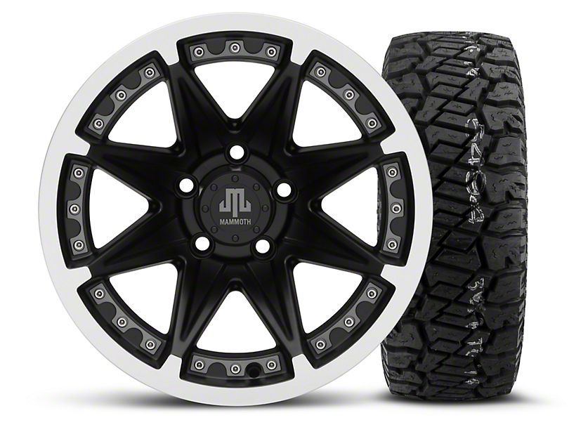 Mammoth Type 88 Black 15x8 Wheel and Dick Cepek Fun Country 33X12.50R15 Tire Kit (87-06 Jeep Wrangler YJ & TJ)