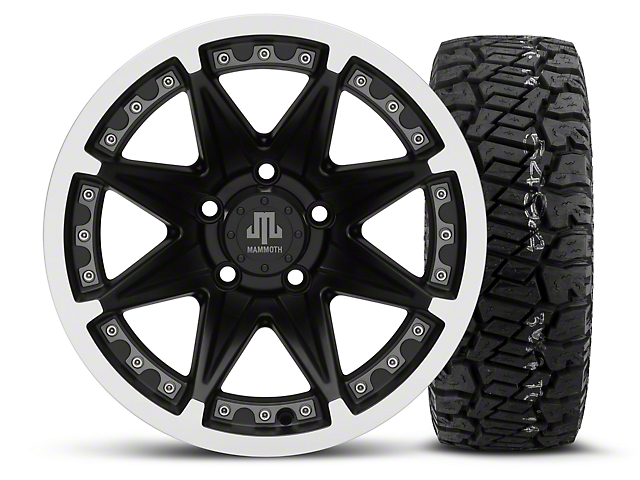 Mammoth Type 88 Black 15x8 Wheel & Dick Cepek Fun Country 33X12.50R15 Tire Kit (87-06 Wrangler YJ & TJ)