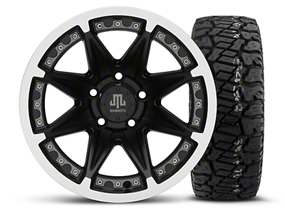 Mammoth Type 88 Black 15x8 Wheel & Dick Cepek Fun Country 33X12.50R15 Tire Kit (87-06 Jeep Wrangler YJ & TJ)