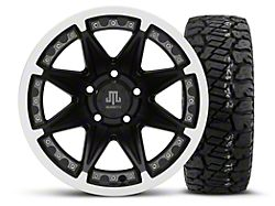 Mammoth Type 88 Black 15x8 Wheel and Dick Cepek Fun Country 33X12.50R15; Set of Five (87-06 Jeep Wrangler YJ & TJ)