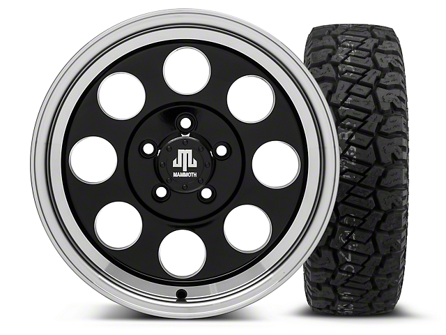 Mammoth 8 Black 16x8 Wheel & Dick Cepek Fun Country 265/75R16 Tire Kit (87-06 Wrangler YJ & TJ)
