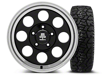 Mammoth 8 Black - 16x8 Wheel - and Dick Cepek Fun Country Tire - 265/75R16 (07-18 Jeep Wrangler JK; 2018 Jeep Wrangler JL)