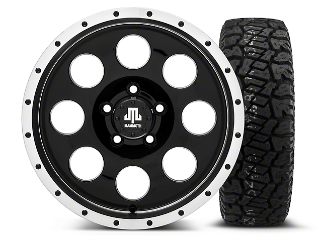 Mammoth 8 Beadlock Style Black 16x8 Wheel and Dick Cepek Fun Country 265/75R16 Tire Kit (87-06 Jeep Wrangler YJ & TJ)