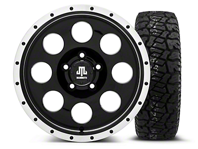 Mammoth 8 Beadlock Style Black 16x8 Wheel & Dick Cepek Fun Country 265/75R16 Tire Kit (87-06 Jeep Wrangler YJ & TJ)
