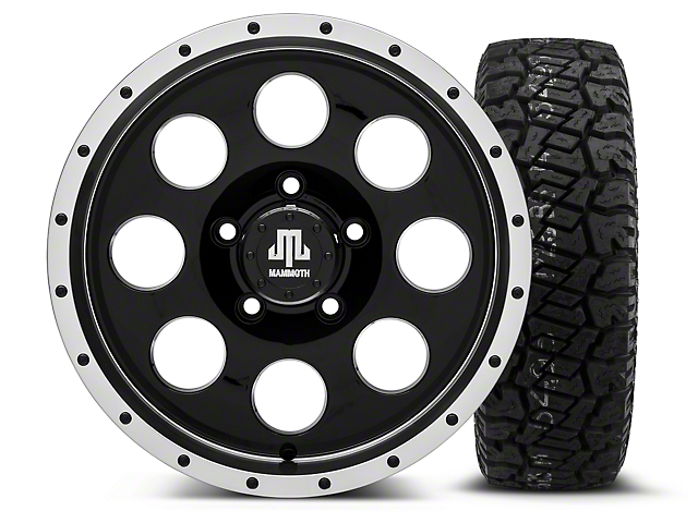 Mammoth 8 Beadlock Style Black - 16x8 Wheel - and Dick Cepek Fun Country Tire - 265/75R16 (07-18 Wrangler JK)