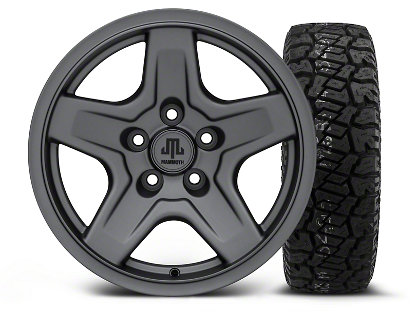 Mammoth Boulder Charcoal 16x8 Wheel and Dick Cepek Fun Country 265/75R16 Tire Kit (87-06 Jeep Wrangler YJ & TJ)