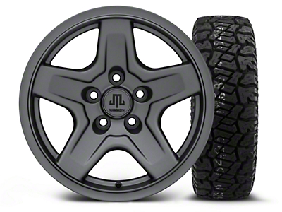Mammoth Boulder Charcoal 16x8 Wheel & Dick Cepek Fun Country 265/75R16 Tire Kit (87-06 Jeep Wrangler YJ & TJ)