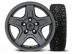 Mammoth Boulder Charcoal 16x8 Wheel and Dick Cepek Fun Country 265/75R16; Set of Five (87-06 Jeep Wrangler YJ & TJ)