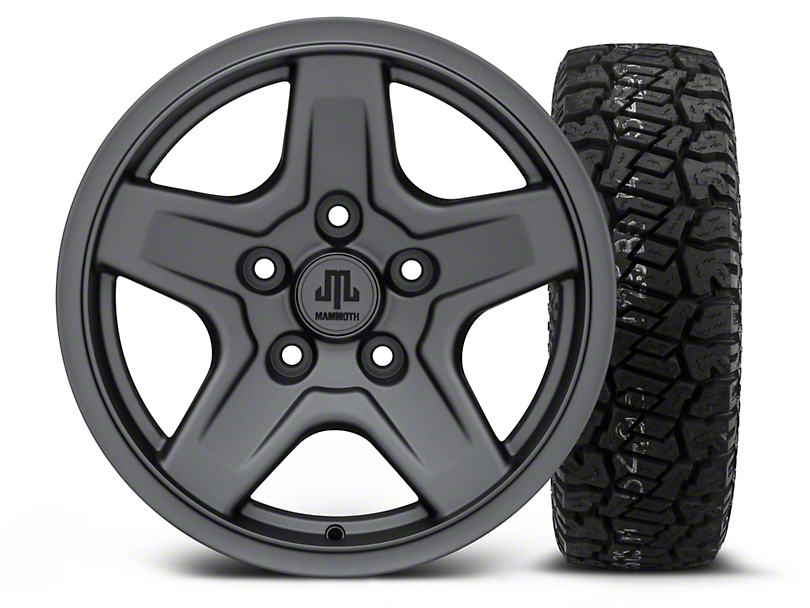 Mammoth Boulder Charcoal - 16x8 Wheel - and Dick Cepek Fun Country Tire - 265/75R16 (07-18 Wrangler JK)