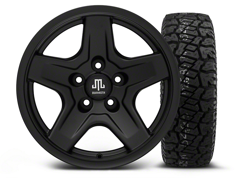 Mammoth Boulder Black 16x8 Wheel and Dick Cepek Fun Country 265/75R16 Tire Kit (87-06 Jeep Wrangler YJ & TJ)