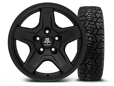 Mammoth Boulder Black 16x8 Wheel & Dick Cepek Fun Country 265/75R16 Tire Kit (87-06 Jeep Wrangler YJ & TJ)
